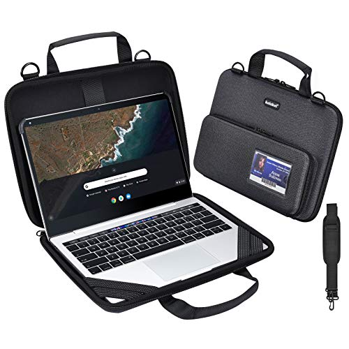 KEISKEI Chromebook Laptop Work-in Carrying case,Notebook Cover,11-11.6 in EVA Always on Laptop Sleeve with Pouch and Shoulder Bag for Acer Samsung Compatible ASUS HP Dell MacBook Air (Black)