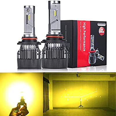 Alla Lighting S-HCR HB4 9006 LED or Fog Lights 3200K Golden Yellow High Power 10000Lm Xtreme Super Bright 12V Replacement