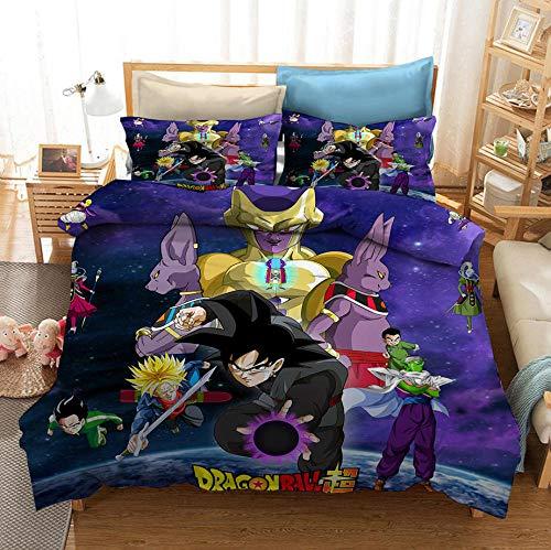 Funda nórdica Dragon Ball Animation 3D, textiles para el hogar impresos, suave y cómoda, adecuada para niños y adolescentes (1 funda nórdica y 2 fundas de almohada) -10_200 * 200cm (3 piezas)