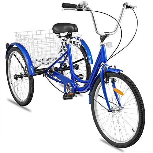 Happybuy Adult Tricycle Single Three Wheel Bike 24inch Seat Adjustable Trike with Bell Brake System and Basket Cruiser Bicycles Large Size for Shopping(24 Blue Sin   gle)