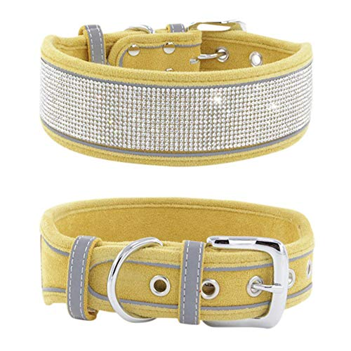 ChYoung Collar reflectante para perro, bonito y deslumbrante con diamantes de imitación de perro, suave, transpirable, ajustable, para perros pequeños, medianos y grandes