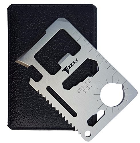 Tuncily Credit Card Survival Tool - 11 in 1 Multipurpose Beer Bottle Opener Portable Wallet Size...