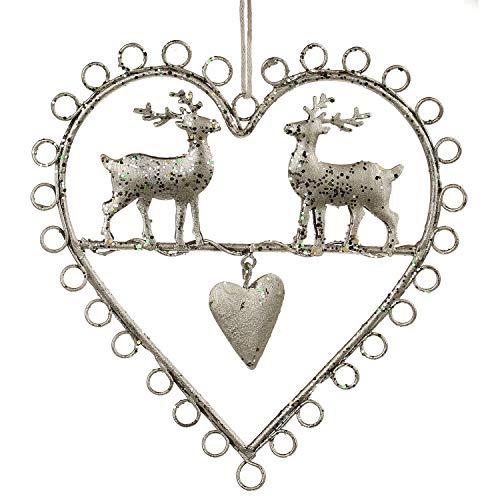 MACOSA GR038-18262 Deko Aufhänger Herz mit 2 Hirschen klein, Silber glänzend Weihnachtsdeko Winter Deko Adventsdekoration