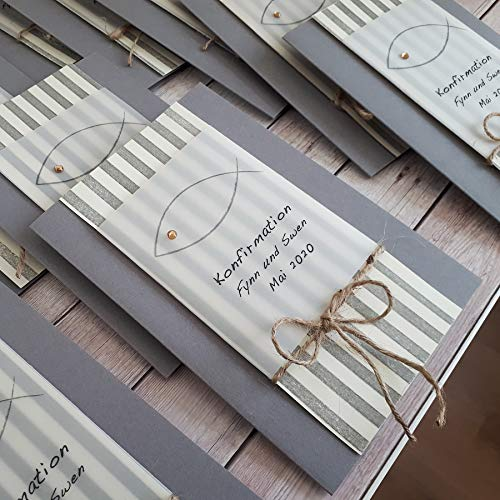 10 personalisierte Einladungskarten Einladung zur Kommunion Konfirmation Firmung Taufe Fisch Streifen grau Jute Junge Mädchen Handarbeit binnbonn