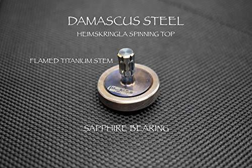 Best Buy! MetonBoss Damascus Steel HEIMSKRINGLA Rotor | Flamed Titanium Stem | Sapphire Bearing | Everyday Carry Gear | Precision-Made Tops and Desktop Display (Damascus Steel HEIMSKRINGLA)