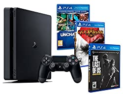Playstation 4-konsoli PS4 Slim 1Tb MEGAPACK 5 -pelit! Viimeinen meistä + Uncharted Collection (3 1issa) + War of War: HD