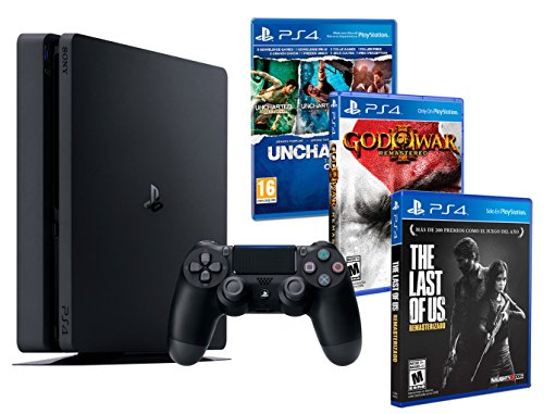 Playstation 4 Consola PS4 Slim 1Tb + 5 Juegos - The Last of us + God of war 3 + Uncharted Nathan Drake Collection