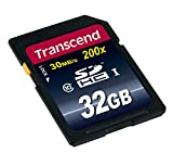 Transcend 32GB SDHC Class 10 Flash Memory Card Up to 30MB/s (TS32GSDHC10), Blue