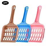 3 Pezzi Palette per Lettiera Gatto in Plastica, Leggera e Resistente, Facile da Pulire per La Cacca di Animali Domestici (colore inviato a caso)