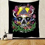 WERT Dibujos Animados Colorido cráneo Seta Tapiz mágico cráneo Arte Tapiz Sala de Estar decoración del hogar Tela de Fondo A4 73x95cm