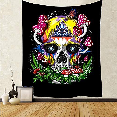 WERT Tapiz de Seta de cráneo Colorido de Dibujos Animados Tapiz de Arte de cráneo mágico Sala de Estar decoración del hogar Tela de Fondo A4 150x200cm