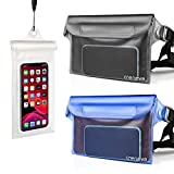 Crenova 3 Pack Waterproof Pouches with Waist Strap and Screen Touchable Phone Case ,Super Lightweight, Bigger Space, Adjustable and Extra-Long Belt