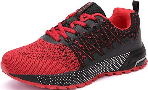 SOLLOMENSI Zapatillas de Deporte Hombres Mujer Running Zapatos para Correr Gimnasio Sneakers Deportivas Padel Transpirables Casual Montaña 42 EU H Rojo