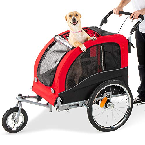 Best Choice Products® 2 in 1 Pet Dog Bike Trailer Bicycle Trailer Stroller Jogger w/ Suspension Red