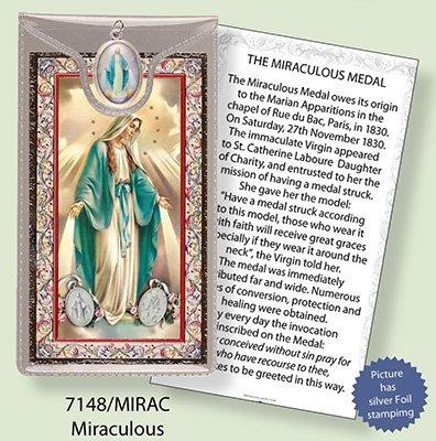 Virgen Milagrosa hoja de plata grabado verso de oración y medalla de colgante