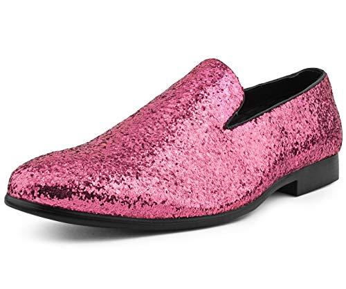Amali Barnes Mens Dress Shoes Sparkly Glitter Encrusted Tuxedo Slip on Loafers for Men - The Original Smoking Men Dress Shoes - Pink Size 12 Runs Big GO 1/2 Size Down