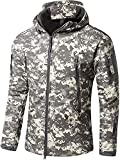 OLOEY Men's Tactical Softshell Fleece Jacket Camouflage Military Hoodie Autumn Winter Outdoor Fleece Jacket Waterproof Windproof Warm Hooded Hiking Ski Jacket Hunting Coat (ACU,XS)