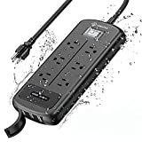CORATED Outdoor Power Strip with 6 Outlets and 3 USB Ports, Wall Mountable 1500J 1875W IPX6 Waterproof Surge Protector Power Strip for Garden, Kitchen, Home and Patio (9FT Heavy Duty Cord)