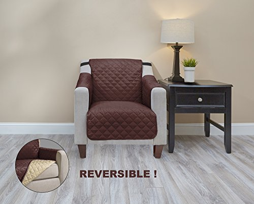 Deluxe Home Premium Quality Reversible Couch Cover for Dogs, Kids, Pets - Sofa Slipcover Set Furniture Protector for 3 Cushion Couch, Recliner, Loveseat and Chair (Chair, Chocolate/Tan)