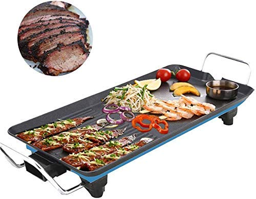 Nonstick Electric Indoor Electric Smokeless Teppanyaki Tafel, met 5 niveaus instelbare temperatuur, Oversized Koken Surface 24X40cm for Indoor Outdoor ZHW345