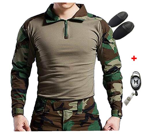 Camicia Militare a Maniche Lunghe da Caccia H World EU Tactical con gomitiere (Woodland, XXL)