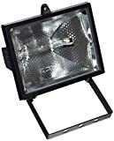 Evila Spot halogène + lampe 500W Noir IP44
