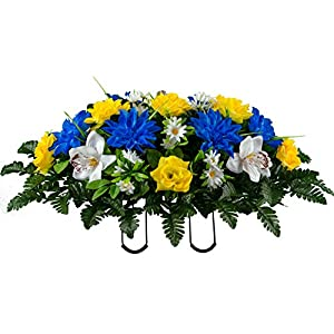 Sympathy Silks Artificial Cemetery Flowers – Realistic Vibrant Roses, Outdoor Grave Decorations – Non-Bleed Colors, and Easy Fit – 1 Blue Dahlia and White Orchid Saddle for Headstone
