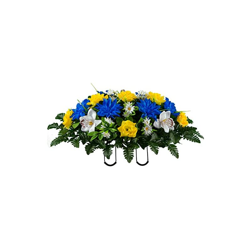 silk flower arrangements sympathy silks artificial cemetery flowers - realistic vibrant roses, outdoor grave decorations - non-bleed colors, and easy fit - 1 blue dahlia and white orchid saddle for headstone