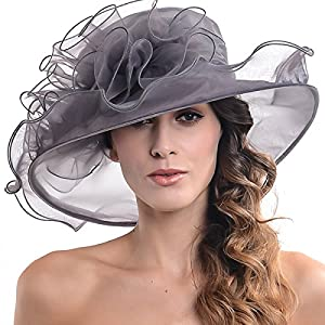 Womens Black Kentucky Derby Church Hat Dress Fascinator Bridal Organza Tea Party Wedding Hat