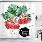 ABAKUHAUS Aquarell Duschvorhang, Reife Erdbeeren, mit 12 Ringe Set Wasserdicht Stielvoll Modern Farbfest & Schimmel Resistent, 175x180 cm, Farngrün Rot