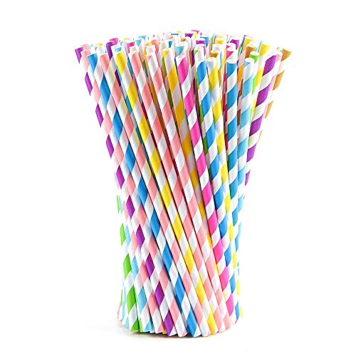 FEPITO 200 Paglie di carta Cannucce colorate Stripe Cannucce per festa di compleanno, decorazione di nozze, laurea, forniture per feste