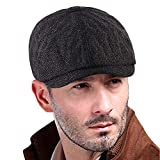 VIJIV Men's Brood Newsboy Snap Hat Classic Wool Blend Panel Caps Tweed Cabbie Cap Adjustable Black