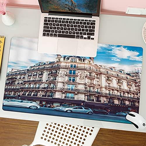 Tapis de Souris Gaming -80 x 30 cm - Bâtiment Intersection Ville Carrefour Bâtiment Magasin Restaurant Voiture Paysage Paysage Base en Caoutchouc Antidérapant - Noir