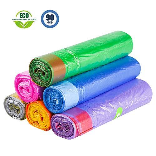 NUOSEM Bolsas de Basura pequeñas de 4 galones, Fuerte cordón sin Perfume Multiusos para baño, Cocina, Dormitorio, Oficina, 90 Unidades, 6 Colores