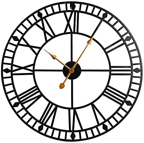 Reloj de pared silencioso Vintage Rústico Reloj de pared Negro grande redondo números romanos modernos Relojes de pared silencioso Habitación Vintage Decoración de la pared para la sala de estar Cocin