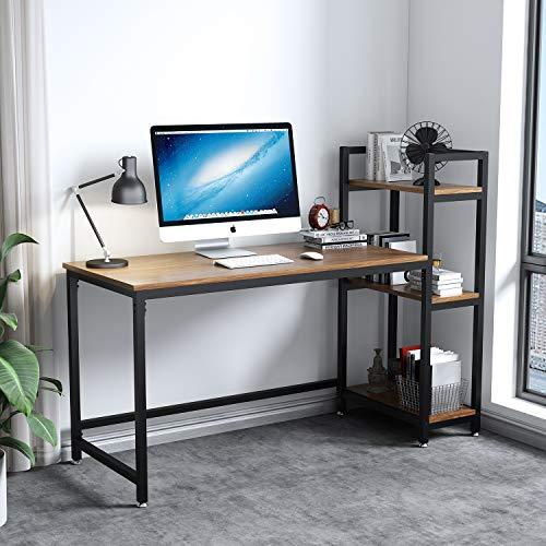 Dripex Kompakte Schreibtisch 126x60x108cm Holz Computertisch mit 3 Ablage, PC-Tisch Bürotisch Officetisch Eckschreibtisch Stabile Konstruktion Tisch für Home Office (Hell Walnuss)