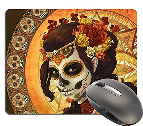 Day of The Dead Sugar Skull Girl Image Made for Rectangle Computer Game Mouse Pad Mat Cloth Cover Non-Slip Backing 18x22 cm