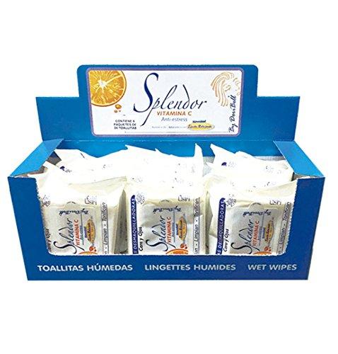 Pack con expositor 9 paquetes de 24 toallitas desmaquillantes Splendor con Vitamina C sin alcohol By DoriBell ®