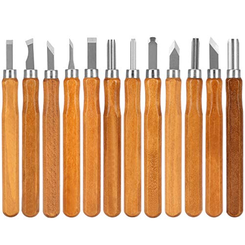 Emoly Kit de ferramentas para esculpir madeira, conjunto de 12 peças SK5 de aço carbono para esculpir madeira, facas feitas à mão para crianças, adultos e iniciantes, profissionais com reutilizável