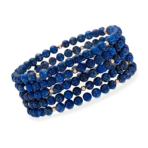 Ross-Simons Blue Lapis Jewelry Set: 5 Beaded Bracelets With 14kt Yellow Gold