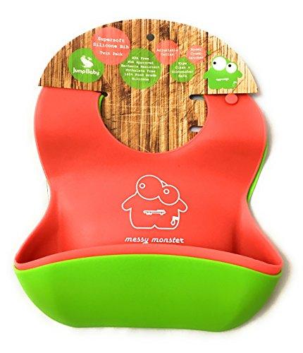 Jump Baby Set de 2 Baberos de Bebé, impermeables, supersuaves, silicona, color rojo/verde lima, limpieza fácil, enrollable
