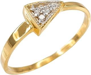 High Polish 10k Yellow Gold Three-Stone Diamond Triangle Ring