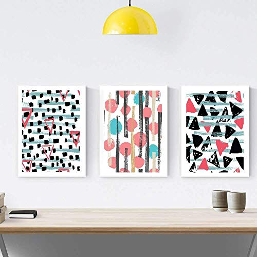 Nacnic Prints Stamped Fuschia & Turquoise - Set of 1 - Unframed 11x17 inch Size - 250g Paper - Beautiful Poster Painting for Home Office Living Room