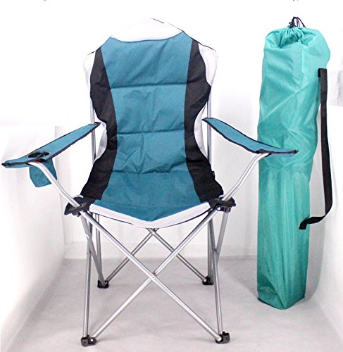 PROGEN DELUXE PADDED CAMPING FISHING BEACH CHAIR WITH PORTABLE WITH FREE CARRYING CASE (GREEN)