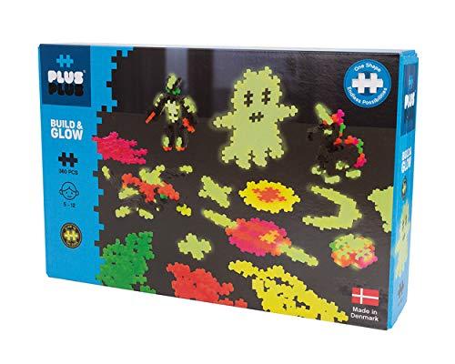 Plus-Plus 9603808 Mini Geniales Konstruktionsspielzeug, Build and Glow, nachtleuchtendes Bausteine-Set, 360 Teile, bunt
