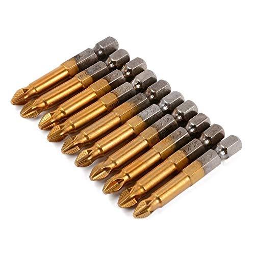 JIAN LIN 10pcs 50mm 1/4 pulgada HEX HEX CORRS CORRS Destornillador Bits Titanium Recubrió S2 Herramientas eléctricas de acero