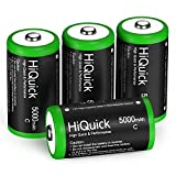 HiQuick Ni-MH C Size Rechargeable Batteries 5000mAh - 1.2V High Capacity C Batteries, Pack of 4