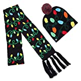 SUREH 2 bufandas de Navidad iluminadas, luces LED para bufanda, sombrero, gorro con luces LED, conjunto de bufandas para Navidad, vacaciones o fiestas de suéter feo (cuatro estilos)