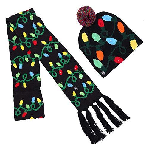 Cozyhoma Wintermütze, Schal, LED, gestrickt, Weihnachtsbaum, Beanie für Kinder und Erwachsene, Adidas Sportschuhe mit Stollen, Lichterkette, M