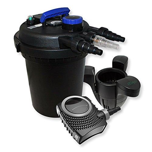 WilTec Kit de Filtration Bassin à Pression 6000l Stérilisateur UVC 11W 70W Pompe éco Ecumeur